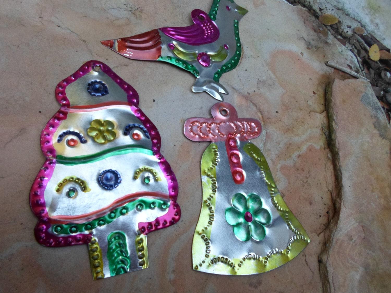 Vintage Mexican Tin Christmas Ornaments