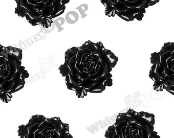 6 - Large Black Bloomin' Rose Cabochons, Rose Shaped, Rose Flatback, Flat Back Cabochons, Large Rose Cabochons 24mm (R6-028)
