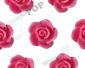 Hot Pink Rose Beads, Flower Beads, Drilled Flowers, 17mm (R7-026, C1-12)