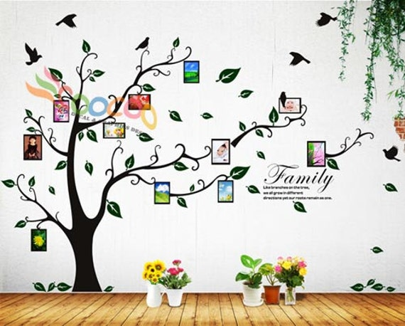 Photo Frame Tree Wall Decal Quote Family Tree Wall Decal Vinyl