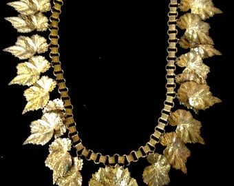 Miriam Haskell Gorgeous Brass Realistic Leaf Necklace on Embossed Victorian Bookchain