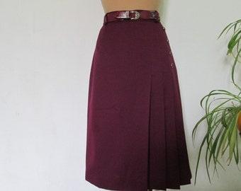 Skirt Vintage / Size EUR 38 / UK10 / Maroon / Dark Cherry / Small Size / Lining