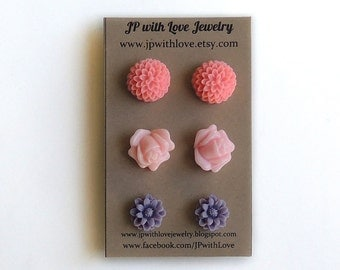 stud earrings, pink stud earrings, purple stud earrings, post earrings, earrings ,women gift under 20, christmas gift