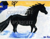 Black Horse, Snow, Sunset, Little House  ACEO, Original Art, Artisan Painting, Miniature Painting, Dollhouse painting