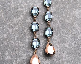 Rose Gold Denim Blue Earrings Swarovksi Crystal Vintage Earrings Post Dangle or Clip on Tear Drop Rhinestone Earrings Sandrine Mashugana