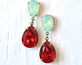 Mint Green Opal Ruby Earrings Swarovski Crystal Minty Opal Ruby Red Earrings Rhinestone Post Dangle DropEarrings Duchess Hourglass Mashugana