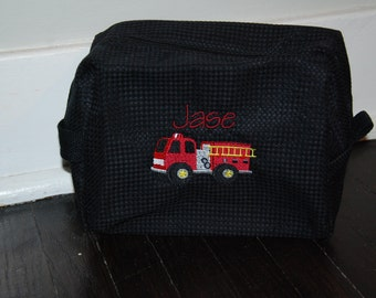 Personalized, Embroidered Cosmetic Bag..Firetruck