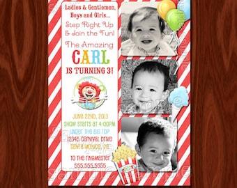 NEW Circus Carnival Theme Birthday Invitation PRINTABLE Digital File