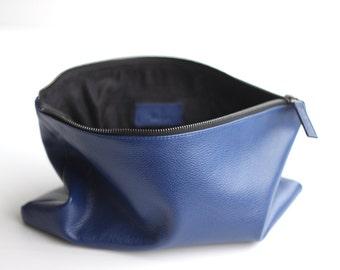 POCHETTE Cobalt Blue Leather Clutch Bag. Leather Zipper Pouch. Zip Pouch. Clutch Bag. Leather Purse. CarryAll Pouch. Bridesmaid Clutch