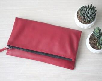 Leather Foldover Clutch. Leather Purse. Soft Leather Clutch. Red Leather Bag. Red Leather Purse. Wedding Clutch. Bridesmaid Clutch Bag