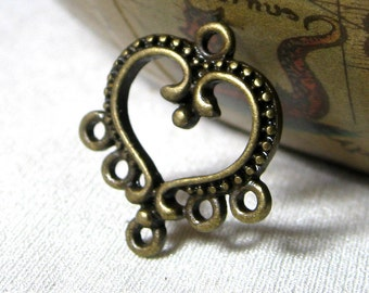 Chandelier Earring Component, Multi Strand Connector, or Pendant Heart and Scroll antique bronze, 10 pieces