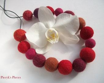 Red Purple Maroon Felt Beads Necklace OOAK