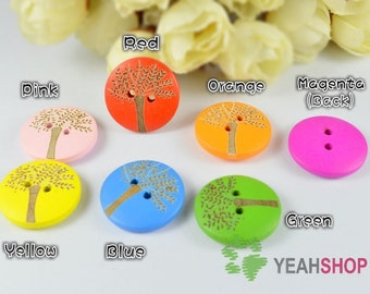 20mm Rainbow Color Wooden Round Buttons - Carved Tree - 20 PCS (WBT20-4)