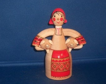 RUSSIAN Hand Carved & Painted Wood Figurine of Peasant Woman Carrying Two Piglets. Made in USSr/Russia
