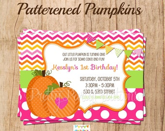 Patterned PUMPKINS invitation