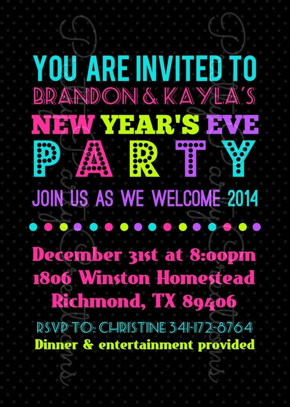 NEW YEARS EVE party invitation You Print by Pretty Party Creations