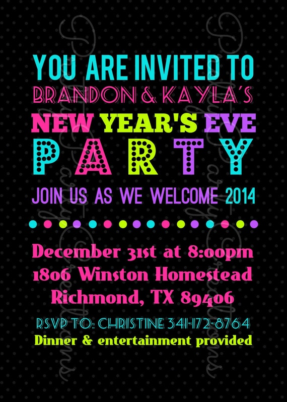 new years eve party invitation - you print by pretty party, Party invitations