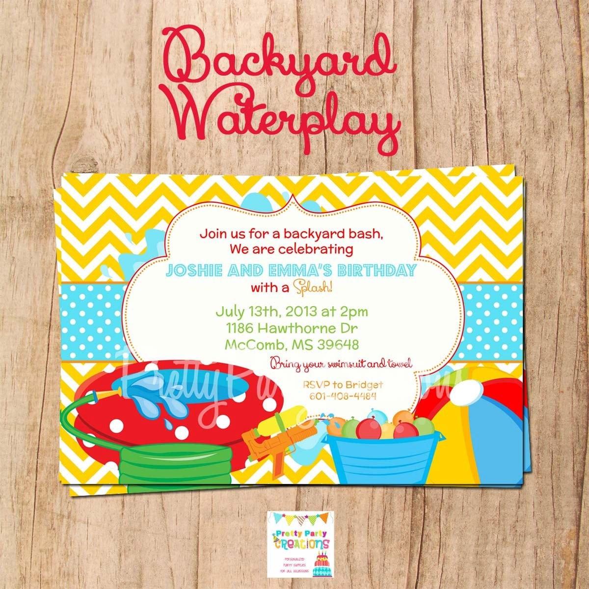 BACKYARD WATERPLAY Invitation You Print