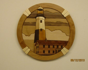 MONTAUK LIGHT HOUSE,Intarsia hand carved wood art by Rakowoods. add it to your collection, great gift for llight house collectors, birthdays