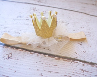 Gold crown headband- crown baby headband - baby headband- princess crown- infant crown headband - newborn crown- gold crown- crown hair clip
