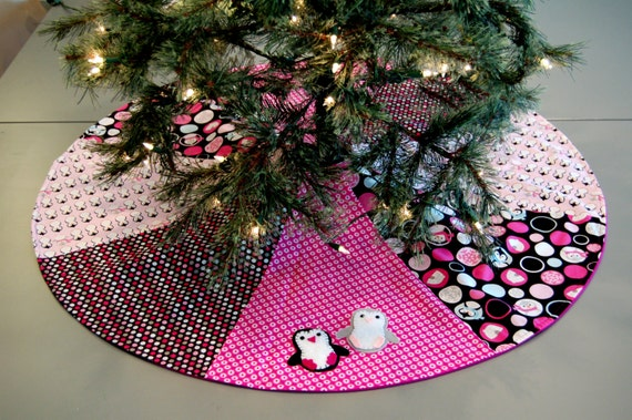 Pink penguin CHRISTMAS TREE SKIRT Pink Holiday Decor Fun Christmas Decorations whimsical Christmas Decor penguin christmas gift