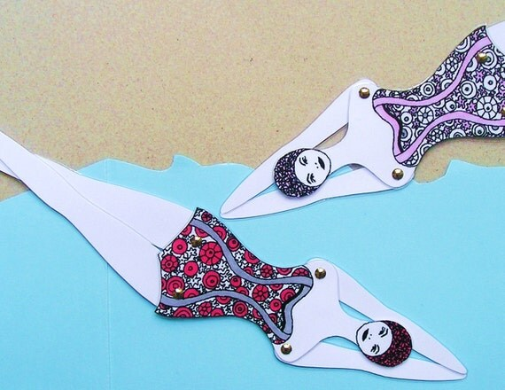 RETRO articulated swimmer doll (type 3) / bookmark / toy / paper doll / funky designer gift