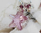 Starfish Necklace Swarovski Crystal Charm Necklace Light Amethyst Starfish Pendant with Seahorse Cream Pearls Sterling Silver Beach Jewelry
