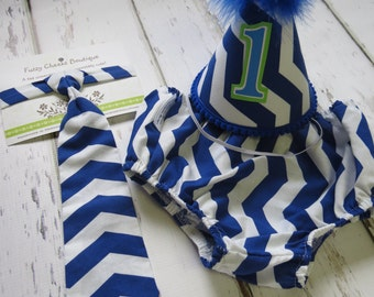Baby Boy / Toddler First Birthday Cake Smash Outfit in Royal Blue and White Chevron