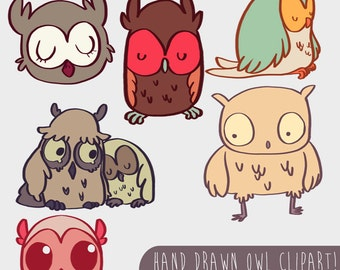 Hand Drawn OWL Clipart, .PNG files Royalty Free, Instant Download