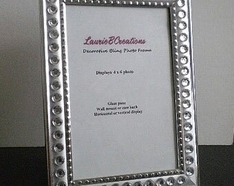 """SILVER & BLING Picture Frame - silver w/ clear rhinestones in 4"""" x 6"""" or 5"""" x 7"""""""