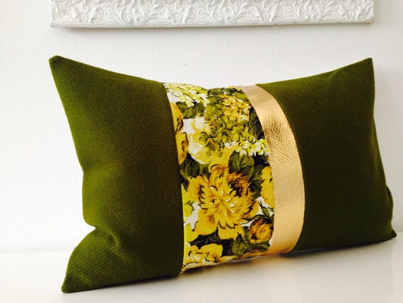 Moss Green Wool Fabric Decorative Throw Pillow Cover