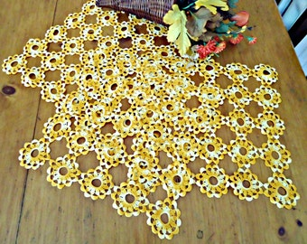 3 Crocheted Doily Large Varigated Orange Crochet Doily Vintage Doilies Doilies Handmade Centerpiece A687