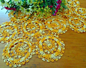 2 Crocheted Doily Varigated Orange Crochet Doily Vintage Doilies Doilies Handmade Centerpiece A688