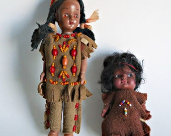 SALE - 2 Native American Dolls Indian Doll 1960's Eegee