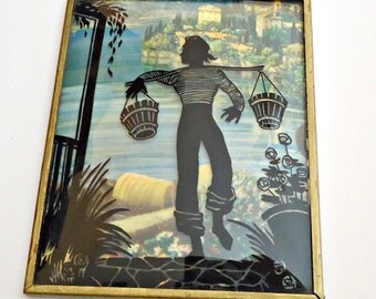 Vintage Silhouette Reverse Painting on Glass French Man Carrying Buckets The Riviera 1940's