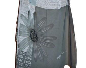 SALE  Vintage Scarf Designer Peter Nygard Courage Pink Ribbon Sheer B103