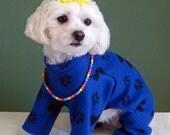 Dog Pajamas - Dark Blue with Black Paw Print Design - 2 Leg or 4 Leg Style