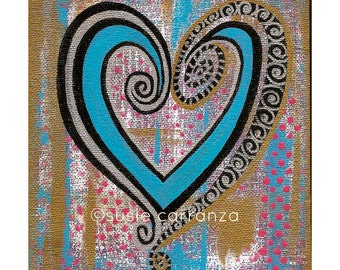 "Original Canvas Art - ""Metallic Heart"" by Susie Carranza. 5 1/2 X 7 inches. Susie Carranza Studio."
