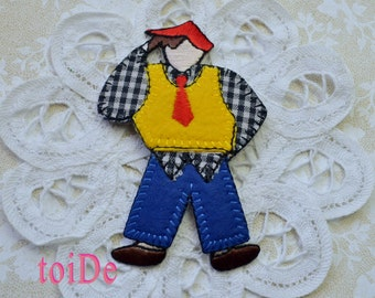 Vintage Worker Dancer -  Embroidered iron on applique, patch - 80's