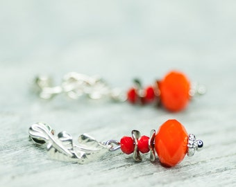 Dangle Beadwork Earrings, Neon Tangerine Orange Earrings, Everyday Jewelry, Stud Earrings, Orange Earrings, Autumn Leaves September Trends