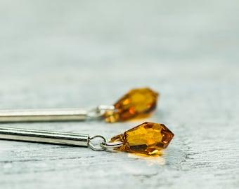 Minimalist Crystal Earrings, Long Orange Earrings Small Drop Earrings, Swarovski Jewelry Sterling Silver Modern Earrings Gift For Her