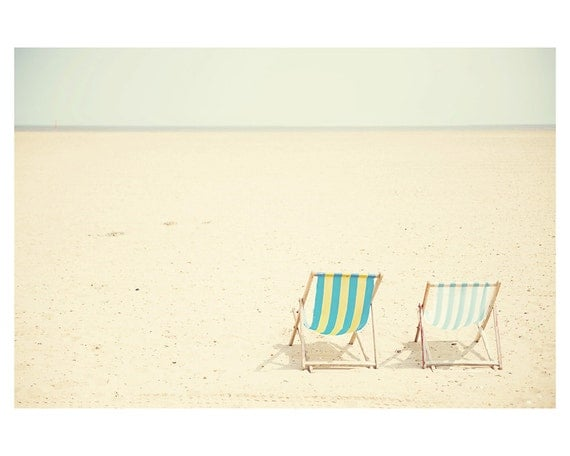 beach photograph, beach decor, seaside, Great Yarmouth, england photograph, mint, lemon, pastel, deck chair, summer, deck chair photograph