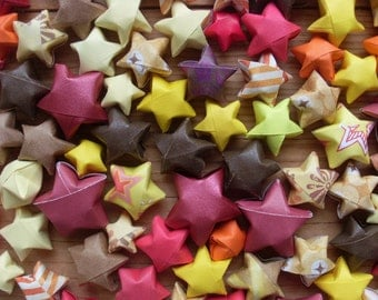 Autumn Origami Stars, Foliage, Fall Leaves, set of 24 Origami Stars. Thanksgiving Table Scatter.