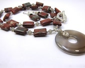 Jasper Necklace Earrings Combo, Jasper and Swarovski Light Gray Opal Necklace and Earring Set