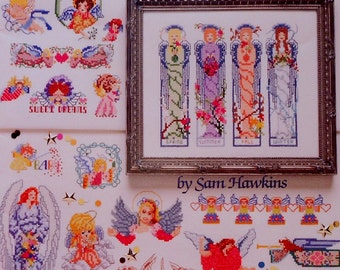 American School Of Needlework 50 ANGELS By SAM HAWKINS - Counted Cross Stitch Pattern Chart Booklet