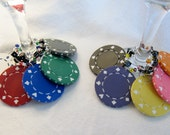 Suite and Dice real clay POKER CHIP and dice Wine Charms -- One set of 10 wine charms