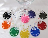 Girls night out -- Suite clay POKER CHIP Wine Charms Diamonds and Pearls -- One set of 10 wine charms