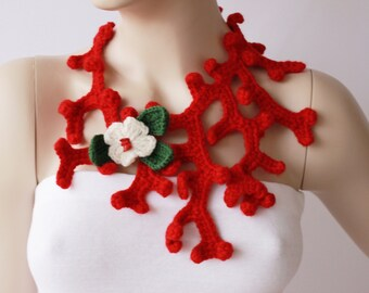 christmas scarf ,crochet jewelry ,crochet pendant ,crochet necklace,
