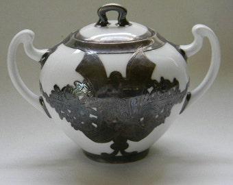 SILVER, Ornate Silver Overlay Porcelain Sugar Bowl