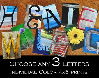 Alphabet Photography 4x6 Color  Individual Photo Letters ANY 3 LETTERS
